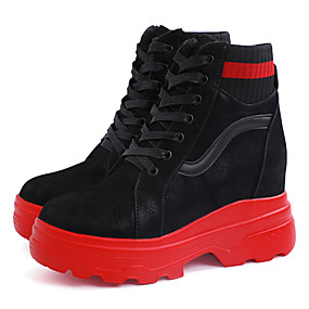 voordelige Damessneakers-Dames Sneakers Platte hak Ronde Teen Imitatieleer Informeel Wandelen Winter Zwart / Rood