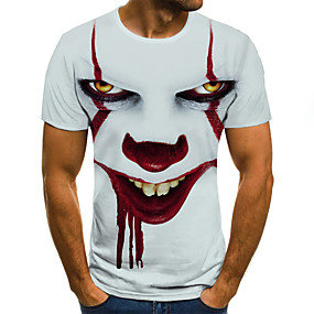 cheap Men's Tops-Men's Halloween T-shirt 3D Graphic Tribal Print Short Sleeve Tops Streetwear Punk & Gothic Round Neck White