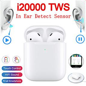 preiswerte Computer & Büro-Original i20000 tws wahre drahtlose Ohrhörer In-Ear-Erkennung Tippen Sie auf die Steuerung drahtlose QI-Ladung automatische Ohrerkennung spielen und pausieren Pop-up Bluetooth 5.0 Super-Bass-Kopfhörer