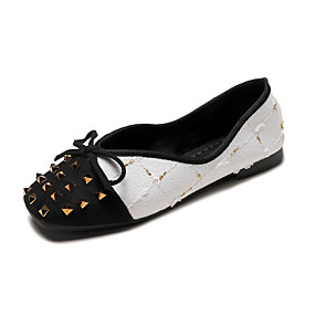 voordelige Damesschoenen met platte hak-Dames Platte schoenen Platte hak Vierkante Teen Siernagel PU Informeel Herfst Zwart / Wit