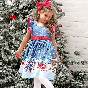 preiswerte Baby & Kinder-Kinder Baby Mädchen Aktiv Süß Schneeflocke Weihnachten Druck Kurzarm Übers Knie Kleid Blau