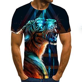 preiswerte Herrenmode-Herrn Geometrisch / 3D / Tier - Street Schick / Übertrieben T-shirt Gefaltet / Druck Regenbogen