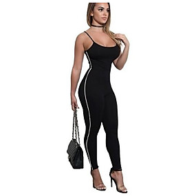 cheap Yoga & Fitness-Women's Straped Open Back Sexy Tracksuit Workout Jumpsuit Stripes Spandex Yoga Running Dance Leggings Activewear Breathable Anatomic Design Sweat-wicking Butt Lift Stretchy