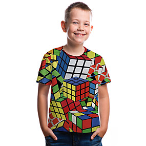preiswerte Baby & Kinder-Kinder Baby Jungen Aktiv Grundlegend Zauberwürfel Geometrisch Einfarbig 3D Druck Kurzarm T-Shirt Regenbogen