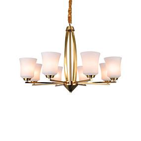 povoljno Stropna svjetla i ventilatori-ZHISHU 8-Light Svijeća stilu / Klastera / Podignuti Privjesak Svjetla Ambient Light Brass Bakar Glass LED, Divan 110-120V / 220-240V Meleg fehér / Bijela