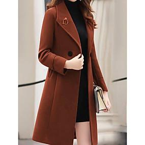 preiswerte Damenbekleidung-Frauen gehen aus / arbeiten im Herbst&Winter-Langmantel, unifarbenes Wende-Langarm-Polyester, schwarz / armee-grün / rot