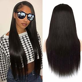 ราคาถูก Lace Wigs with Bangs-วิกผมจริง ผมบริสุทธิ์ที่ยังไม่ได้ เต็มไปด้วยลูกไม้ วิก ฟรี Part สไตล์ ผมบราซิล ธรรมชาติตรง ธรรมชาติ วิก 150% Hair Density ปาร์ตี้ คลาสสิก เซ็กซี่เลดี้ ลดกระหน่ำ หนา สำหรับผู้หญิง ยาว ชุดคอสเพลย์ Tea