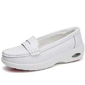 voordelige Damesinstappers & loafers-Dames Loafers & Slip-Ons Platte hak Ronde Teen Leer Informeel / minimalisme Winter Wit