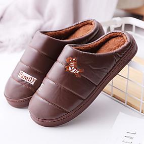 preiswerte Herren Hausschuhe und Flip-Flops10210516-Herrn Komfort Schuhe PU Winter Freizeit Slippers & Flip-Flops Walking warm halten Braun / Blau