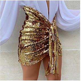 preiswerte Hosen & Röcke für Damen-Damen Sexy Bodycon Röcke - Solide Pailletten Schwarz Gold Silber S M L / Mini