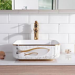 preiswerte Waschschalen und Aufsatz-Waschbecken-Waschbecken für Badezimmer Moderne - Gals Quadratisch Vessel Sink