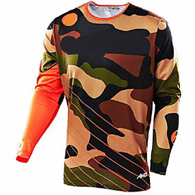 cheap Cycling & Motorcycling-21Grams Camo Men's Long Sleeve Cycling Jersey Downhill Jersey Dirt Bike Jersey - Black / Orange Black / Blue Bike Jersey Motorcyle Clothing Top UV Resistant Quick Dry Breathable Sports Winter Summer