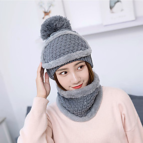 cheap Women's Accessories-Women's Basic Cute Acrylic Knitwear Ski Hat-Solid Colored Fall Winter Black Blushing Pink Red