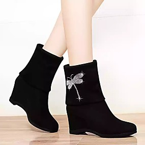 cheap Fashion Boots-Women's Boots Hidden Heel Round Toe Animal Print Satin Mid-Calf Boots Casual Walking Shoes Fall & Winter Black