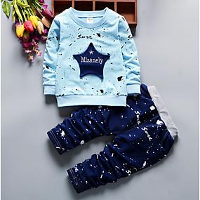 preiswerte Baby & Kinder-Baby Jungen Grundlegend Druck Langarm Kleidungs Set Leicht Blau