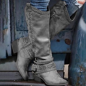 preiswerte Damenschuhe-Damen Stiefel Komfort Schuhe Blockabsatz Spitze Zehe PU Mittelhohe Stiefel Herbst Winter Braun / Rosa / Grau