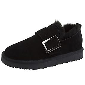 voordelige Damesschoenen met platte hak-Dames Platte schoenen Platte hak Ronde Teen Leer Winter Zwart / Grijs / Koffie