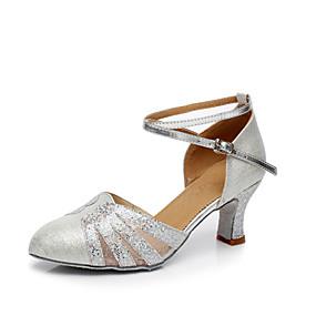 preiswerte Tanzschuhe-Damen Tanzschuhe Kunststoff Schuhe für modern Dance Pailetten Absätze Kubanischer Absatz Maßfertigung Gold / Blau / Silber