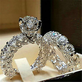 cheap Wedding & Party Jewelry-Women's Ring AAA Cubic Zirconia 1pc White Silver Platinum Plated Alloy Stylish Daily Jewelry Cute
