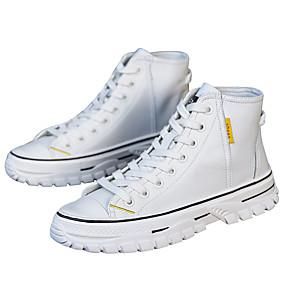 voordelige Damessneakers-Dames Sneakers Platte hak Ronde Teen Leer Lente & Herfst Zwart / Wit
