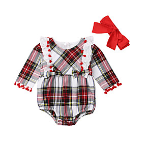billige Black Friday-2pcs Baby Jente Aktiv / Grunnleggende Ruter / Jul Sløyfe / Lapper Langermet Bomull Body Hvit