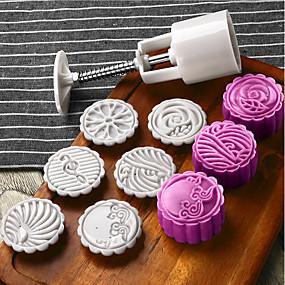 billige Bakeformer-6stk blomster mooncake mold midt på høsten festival håndtrykk mold diy verktøy cookie cutter kake bakeware 1 fat med 5 frimerker sett