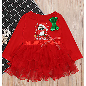 cheap Christmas Deals-Kids Girls' Christmas Dress Red