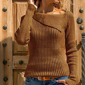 preiswerte Damen Oberteile-Damen Solide Langarm Pullover Pullover Jumper, V-Ausschnitt Schwarz / Wein / Weiß S / M / L