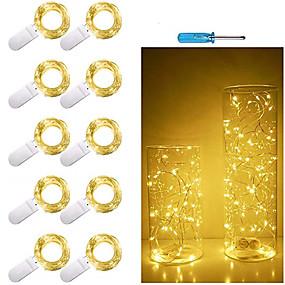 povoljno Setovi svjetlosnih nizova-1m Žice sa svjetlima 10 LED diode SMD 0603 10pcs Toplo bijelo Bijela Više boja Valentinovo Božić Božićni vjenčani ukrasi Baterije su pogonjene