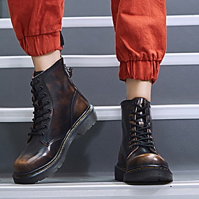 billige Mote Boots-Dame Støvler Flat hæl Rund Tå Lær Støvletter Høst vinter Svart / Brun / Rød