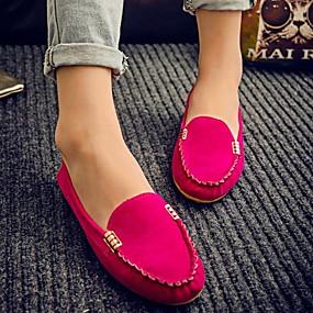 voordelige Damesschoenen met platte hak-Dames Platte schoenen Platte hak Ronde Teen Leer Lente & Herfst Zwart / Fuchsia / Geel