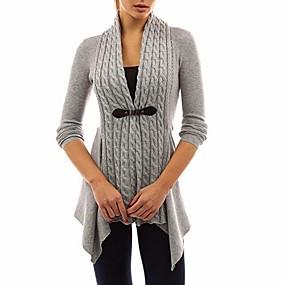 preiswerte Damen Oberteile-Damen Solide Langarm Strickjacke Pullover Jumper, V-Ausschnitt Schwarz / Purpur / Rosa S / M / L