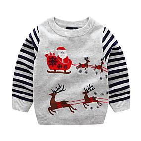 povoljno Sniženje-Djeca Dječaci Ulični šik Prugasti uzorak Božić Dugih rukava Pamuk Džemper i kardigan Plava