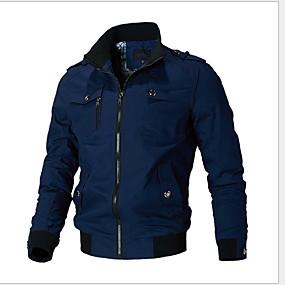 preiswerte Herrenmode-Herrn Alltag Herbst Winter Standard Jacke, Solide Ständer Langarm Polyester Schwarz / Armeegrün / Blau