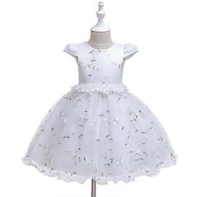 preiswerte Baby & Kinder-Baby Mädchen Aktiv Rose Blumen / Solide Gitter / Druck Ärmellos Knielang Kleid Weiß
