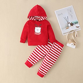 cheap Sale-Baby Girls' Street chic Print / Christmas Long Sleeve Regular Cotton Clothing Set Red / Toddler