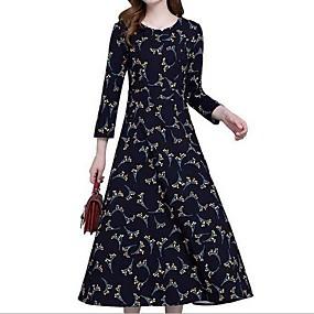 preiswerte Damen Kleider-Damen Chiffon Kleid Blumen Maxi