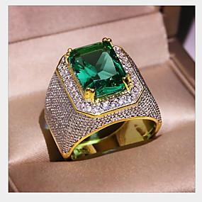 preiswerte Schmuck & Armbanduhren-Herrn Damen Ring Synthetischer Smaragd 1pc Gold Kupfer Geometrische Form Modisch Alltag Festtage Schmuck Geometrisch Stern Cool