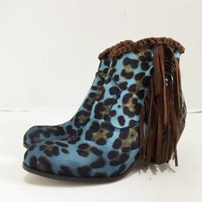 preiswerte Damenschuhe-Damen Stiefel Schuhe drucken Blockabsatz Runde Zehe PU Booties / Stiefeletten Herbst Winter Gelb / Grün / Blau / Leopard
