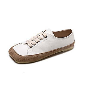 voordelige Damessneakers-Dames Sneakers Platte hak Vierkante Teen Linnen / PU Informeel Herfst Zwart / Amandel / Beige