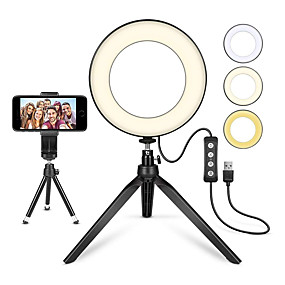 cheap Staycation-6inch ZDM LED Selfie Ring Light Camera Dimmable with Tripod Stand and Phone Holder 1 set Tiktok Video with 3 Light Modes 11 Brightness Level USB