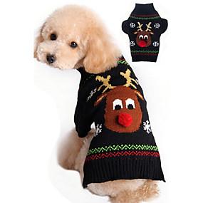 preiswerte Sport & Hobbys-Katze Hund Pullover Weihnachten Winter Hundekleidung Schwarz Rot Kostüm Acrylfasern Rentier Weihnachten Neujahr XXS XS S M L XL