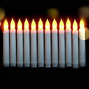 preiswerte Haus & Garten-12 Stück Flammenlose Kerzen Gelb AA-Batterien angetrieben Kreativ 5 V