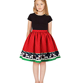 preiswerte Baby & Kinder-Kinder Mädchen Geometrisch Weihnachten Kleid Schwarz