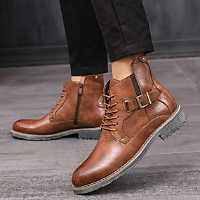 billige Mote Boots-Dame Støvler Komfort Sko Lav hæl Rund Tå PU Ankelstøvler Høst vinter Svart / Mørkebrun / Gul