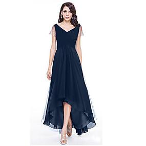 preiswerte 8.8 SALE-Damen Elegant Schlank Swing Kleid Solide Asymmetrisch V-Ausschnitt