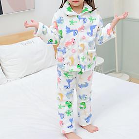 preiswerte Unterwäsche & Socken für Babys-2pcs Baby Mädchen Dinosaurier Druck Monogramm / Stilvoll / Tiermuster Schlafanzüge Weiß