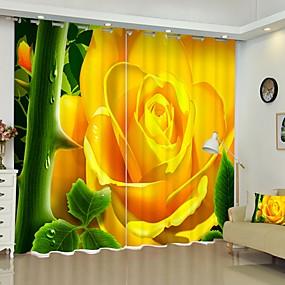 preiswerte Vorhänge & Gardinen-gelber Vorhang des Digitaldrucks der Blume 3d, der schwarzen silk Tuchqualitätsvorhang der hohen Präzision schattiert
