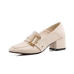 voordelige Damesinstappers & loafers-Dames Loafers & Slip-Ons Blokhak Vierkante Teen Siernagel Synthetisch Informeel Lente & Herfst Zwart / Amandel / Roze