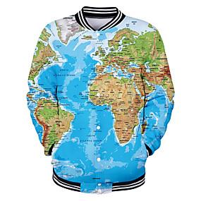 preiswerte Herrenmode-Herrn Alltag Grundlegend Frühling / Herbst Winter Standard Jacke, Geometrisch Ständer Langarm Polyester Blau